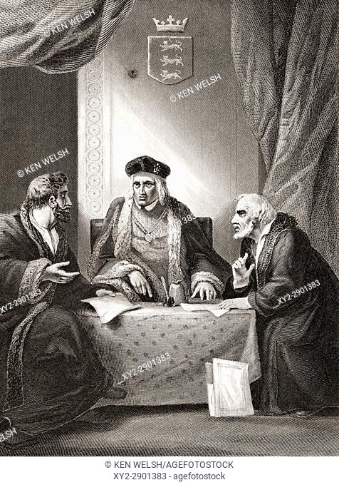 King Henry VII of England with Sir Richard Empson and Edmund Dudley, two of his councillors of the Council Learned in the Law