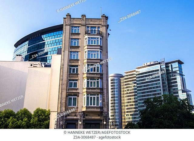 Contrast of modern and historical architecture in Brussels, Belgium, Europe