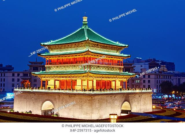 China, Shaanxi province, Xian, Bell Tower, dating from 14th century rebuilt by the Qing in 1739