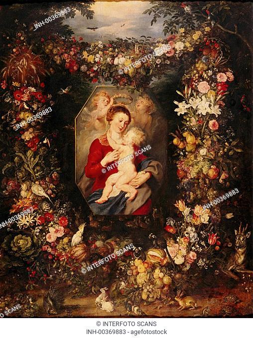 Ü Kunst, Rubens, Peter Paul 28 6 1577 - 30 5 1640 & Breughel, Gemälde Die Jungfrau und das Kind, Prado, Madrid fläm , barock allegorischer rahmen, blumen