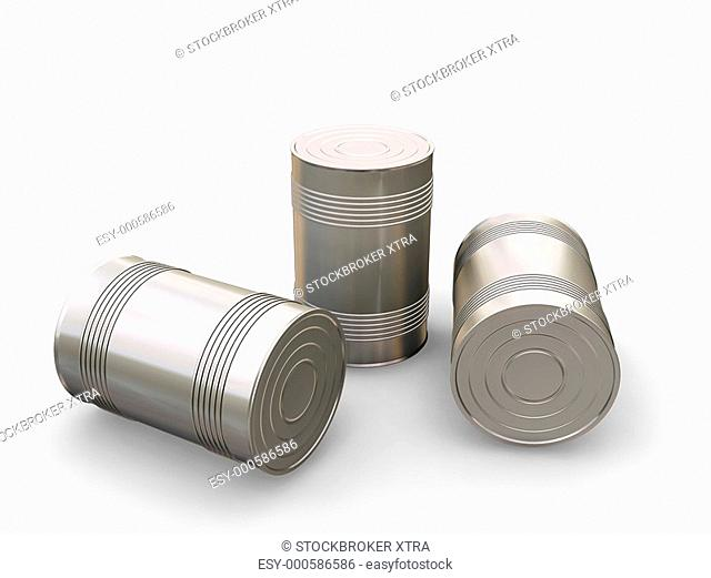 3D render of tin cans