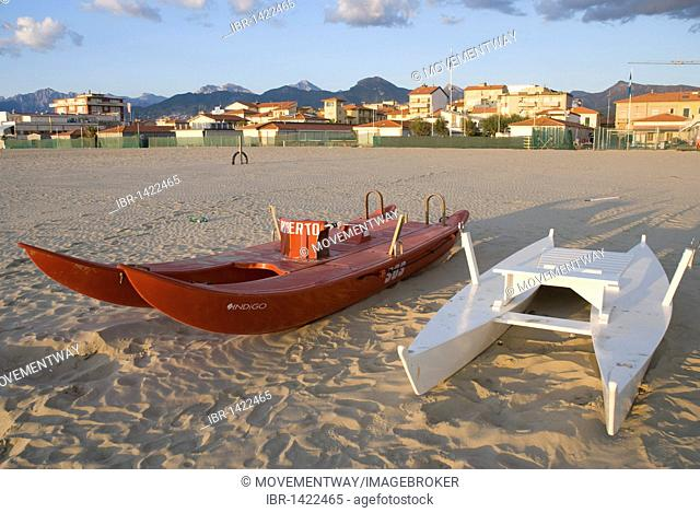 Rescue boats on the beach of Lido di Camaiore, Versilia, Riviera, Tuscany, Italy, Europa