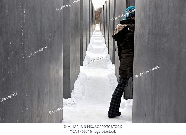 Woman visiting Monument to the Murdered Jews of Europe, Berlin, Germany