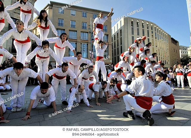 Castell, human towers. Falcons group. February 12. Celebration of saint Eulalia martyr. 290-303 AD. Canonized 633 AD. Copatron of Barcelona