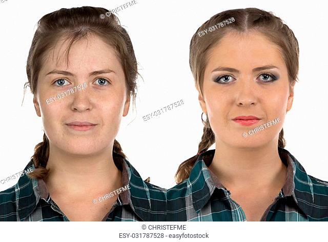 Photo of young woman before-after make up on white background