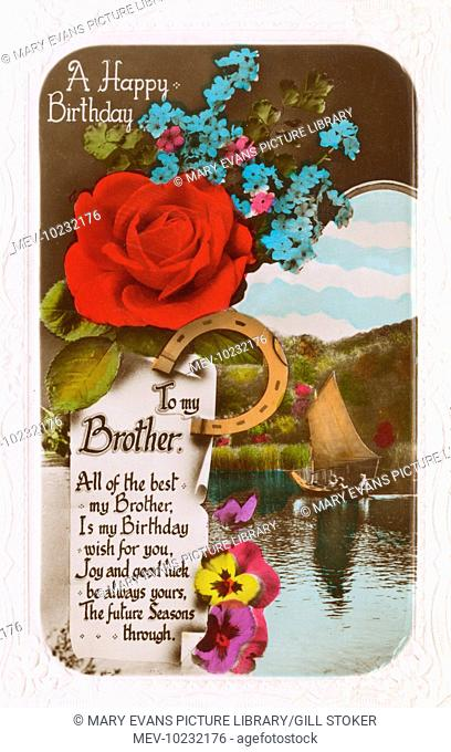 A Happy Birthday to my Brother: birthday card with a red rose, blue forget-me-nots, assorted pansies and a horseshoe, with a sailing boat on a lake in the...