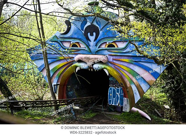 Colourful rollercoaster tunnel entrance in the abandoned Spreepark in Berlin, Germany