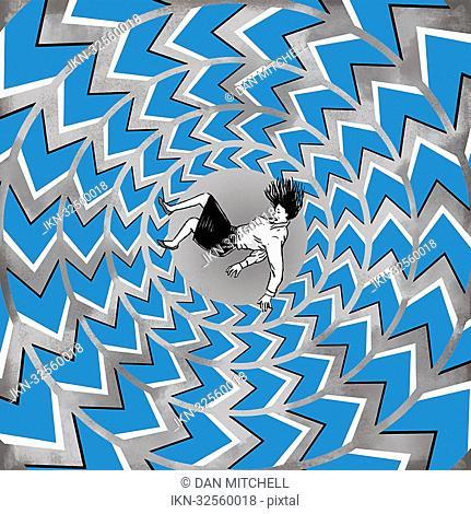 Woman drowning in swirl