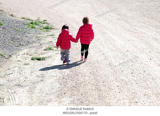 Back view of two little sisters walking hand in hand