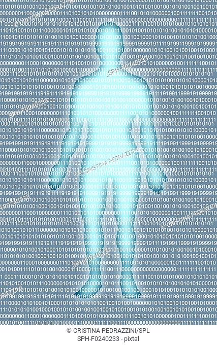 Man with binary code numbers, illustration
