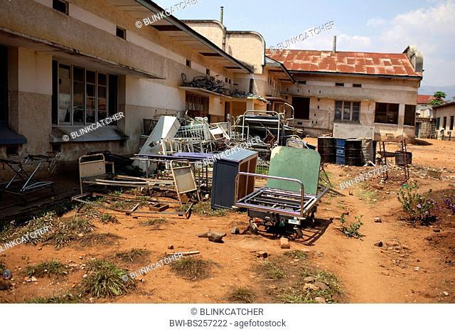 old discarded beds and inventory lying next to a hospital, Burundi, Bujumbura Mairie, Bujumbura