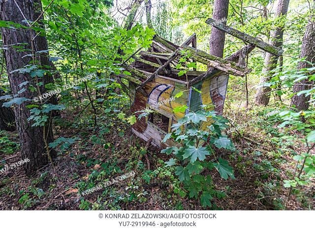 Wooden house on children's playground of kindergarten in Chernobyl-2 military base, Chernobyl Nuclear Power Plant Zone of Alienation in Ukraine