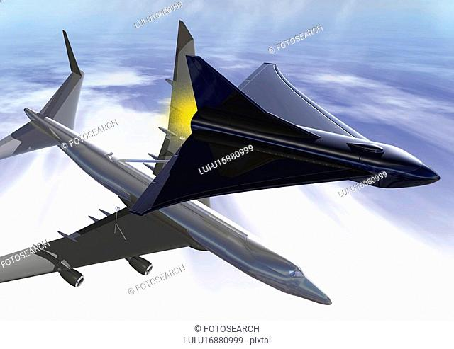 Airplane and spacecraft, Illustration, CG, High Angle View