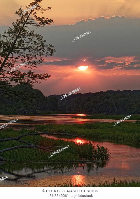 Sunset on river Bug. Mielnik. Podlasie region, Poland