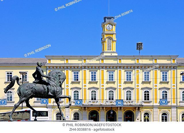 Ljubljana, Slovenia. Main Railway Station facade (Zelezniska Postaja) Equestrian statue of General Meister