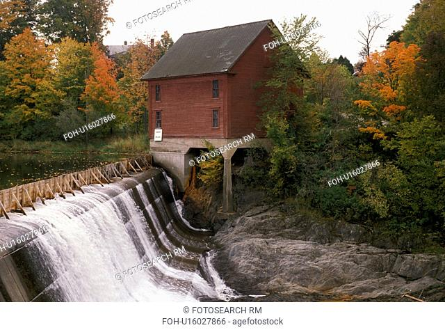 waterfall, dam, Vermont, Morrisville, Lamoille River, Scenic waterfall running over a dam next to a red wooden house in the fall