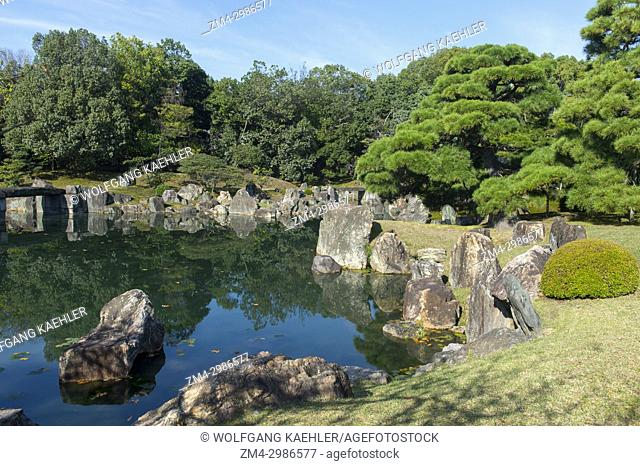 The Ninomaru Garden with a pond at the Nijo Castle in Kyoto, Japan