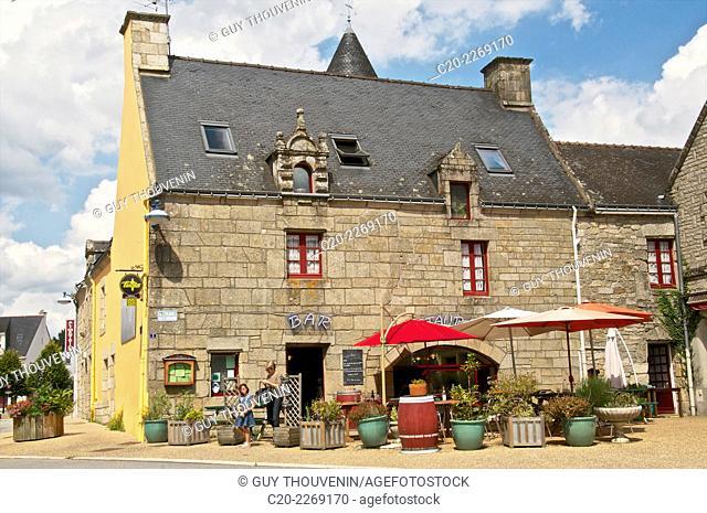Bar and restaurant, terrace, Melrand, Brittany, Morbihan 56, France