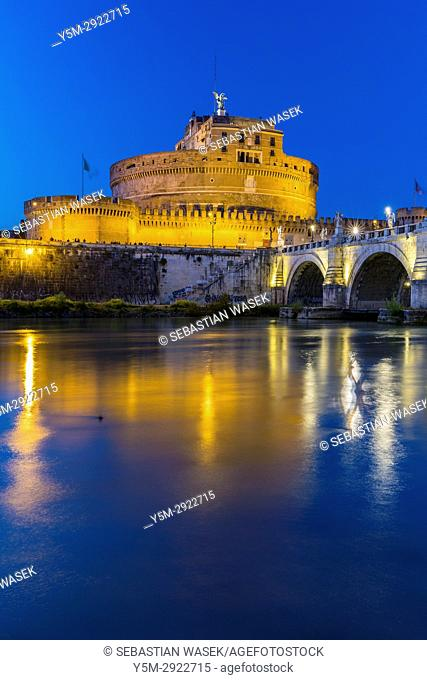 The Mausoleum of Hadrian, usually known as Castel Sant'Angelo a towering cylindrical building in Parco Adriano, Rome, Lazio, Italy, Europe