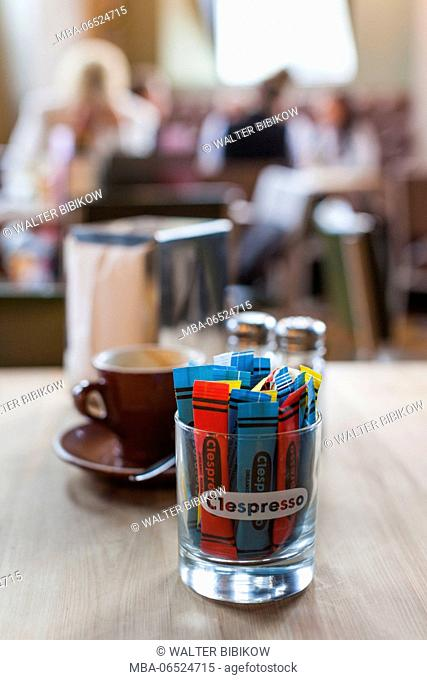 New Zealand, South Island, Christchurch, C1 Espresso cafe, located in old post office, coffee cup, interior