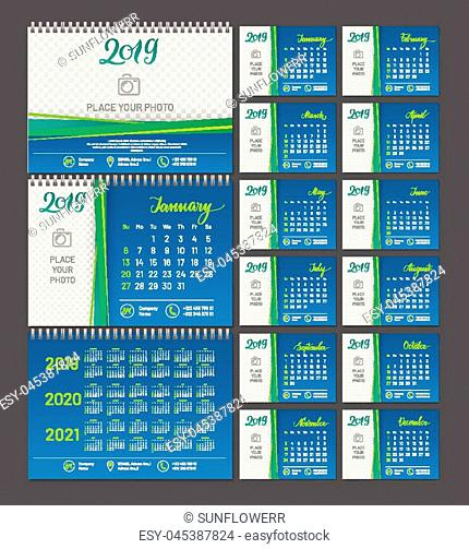 Desktop calendar 2019 year, copy space. Chart with empty backdrop for photos. Vector illustration menology with decorative elements