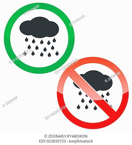Rain permission signs set
