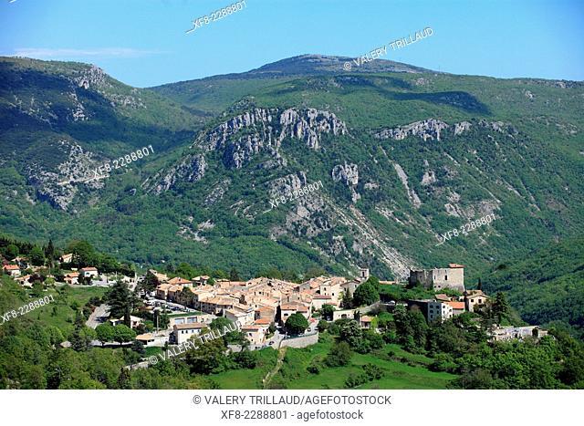 The village of Gréolières, Préalpes d'Azur regional park, Alpes-Maritimes, Provence-Alpes-Côte d'Azur, France