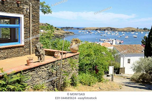 Street leading to the cove in the village of Portlligat, a small village, on the Costa Brava of the Mediterranean sea, in the municipality of Cadaques, Girona