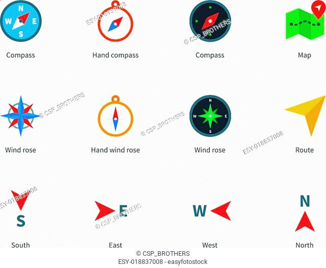 Compass and map colored icons on white background