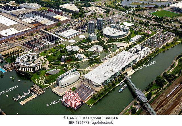 Aerial view, Volkswagen factory Wolfsburg, Autostadt and Ritz Carlton Hotel, Lower Saxony, Germany