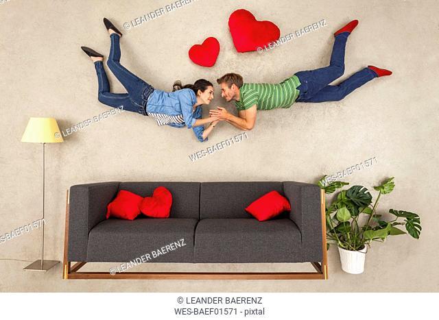Happy couple falling in love