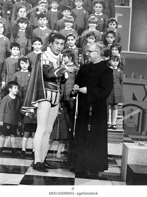 Italian TV host Cino Tortorella (Felice Tortorella) presenting 10th musical TV show Zecchino d'Oro playing the role of Mago Zurlì. Bologna, March 1968