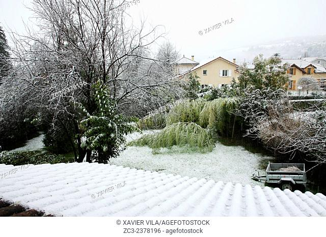 Garden - Orange vigilance weather in Isere with snow and ice. Dauphine, Alps, Isere, Chartreuse, Rhone Alpes, France. Voiron, FRANCE