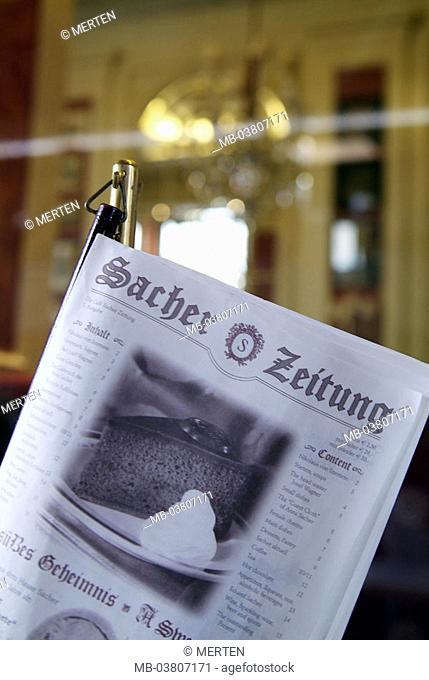 Austria, Vienna, hotel Sacher, cafe, Selectors, 'Sacher-Zeitung', detail  Series, capital, culture city, tradition hotel, famous,  universally known, gastronomy