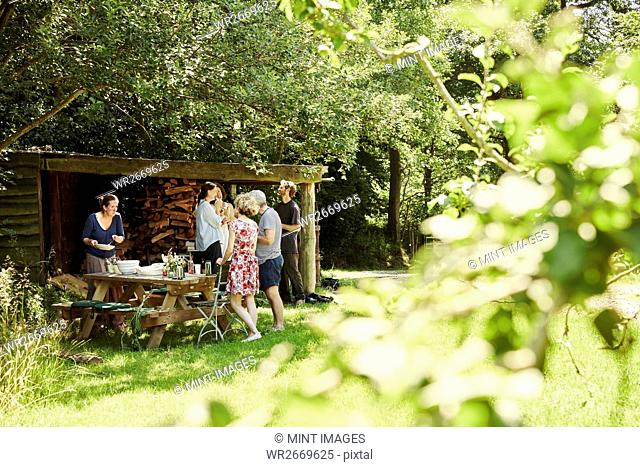 A group of men and women around a lunch table in summer in the shade of trees in a garden