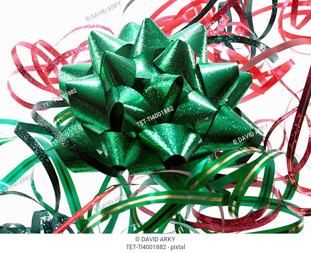 Studio shot of Red and Green Ribbon on white background
