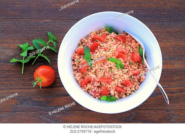 Tabbouleh salad with fresh tomatoes