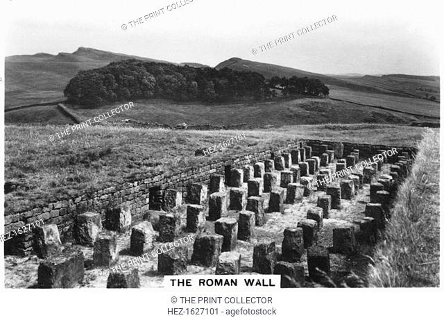 The Roman Wall, Housesteads, Northumberland, 1937. Part of Hadrian's Wall, built in the 2nd century AD. Sights of Britain, third series of 48 cigarette cards