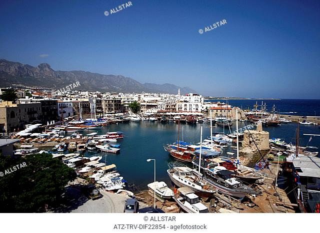 HARBOUR, BOATS & MEDITERRANEAN SEA; KYRENIA, NORTHERN CYPRUS; 28/05/2013
