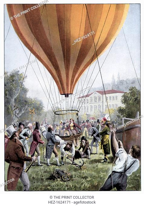 Joseph Louis Gay-Lussac's hot air balloon ascent, Paris, September 1804 (1900). On this flight, French chemist and physicist Gay-Lussac (1778-1850) reached a...