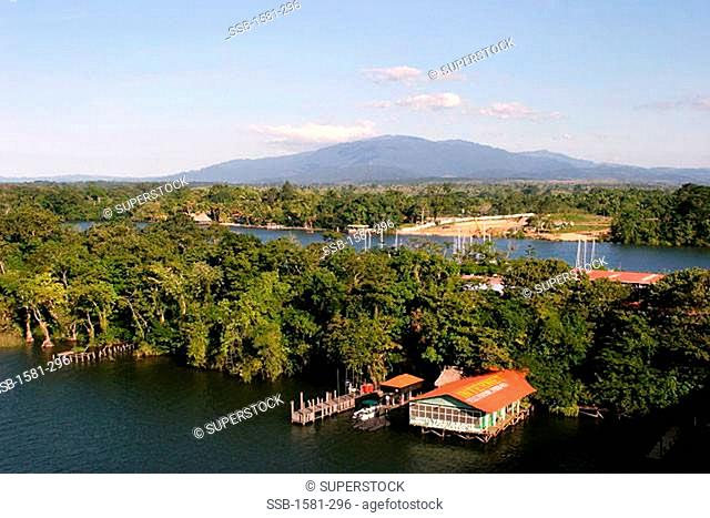 High angle view of a building on the waterfront, Rio Dulce River, Guatemala