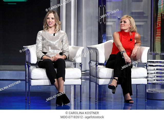 Italian skater Carolina Kostner and former Italian fencer and sports director Diana Bianchedi during the TV show Porta a Porta