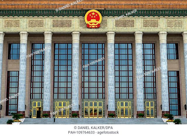 China: Frontal view of the Great Hall of the People at Tiananmen Square in Beijing. The building is seat to the National People's Congress