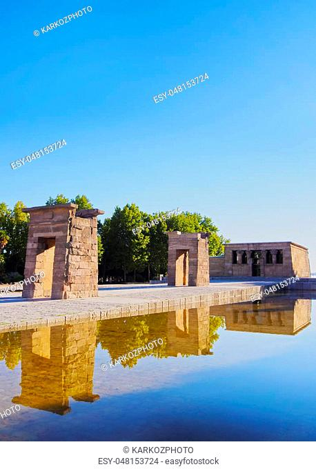 Spain, Madrid, Parque del Oeste, View of the Temple of Debod