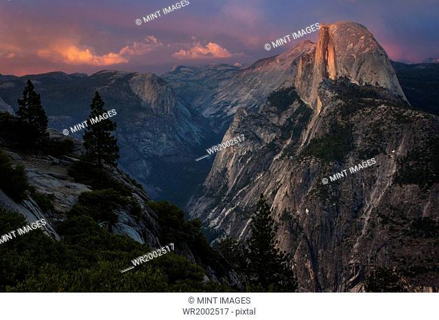 View of Half Dome in Yosemite Valley in YosemiteNational Park, California at dusk