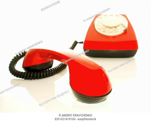Red old fashioned telephone - Contact us concept