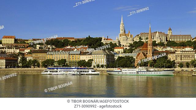 Hungary, Budapest, Castle district, skyline, general view, Danube river,