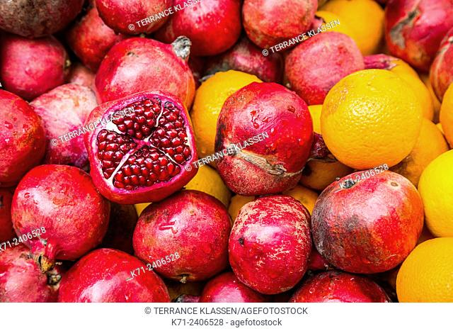 Closeup of pomegranate fruit at a small fruit stand in Istanbul, Turkey, Eurasia
