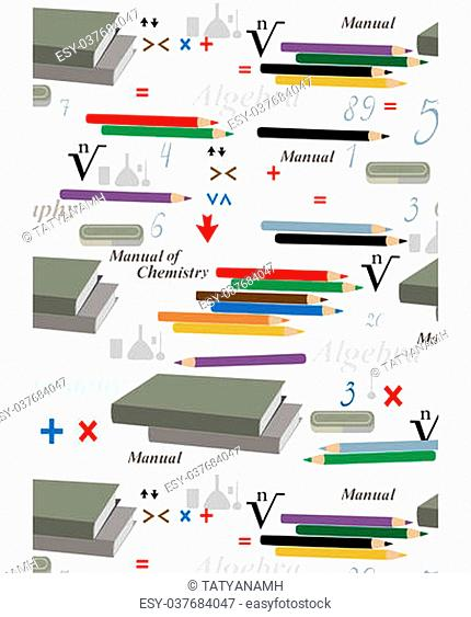 Seamless background with school supplies and mathematical symbols