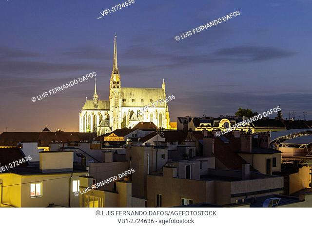 Illuminated cathedral and rooftops at night. Brno, Czech Republic